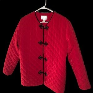 Susan Graver Style Red Quilted jacket  w/toggles